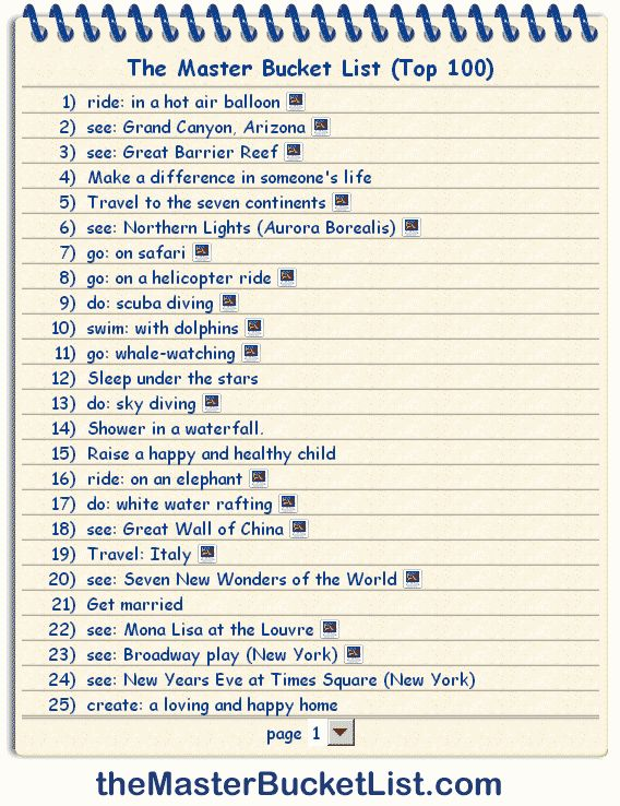 100 Things to do before you die - some really good things on here!
