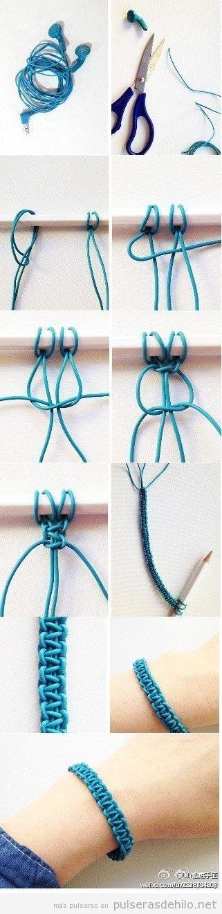 Pulsera de nudos DIY paso a paso hecha con cables de auriculares