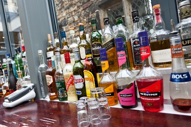 The Bar's wide range of alcoholic beverages.