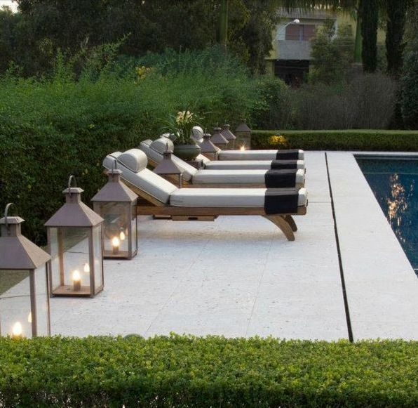 Classic Hamptons Pool, with Loungers and Boxwood Privacy Hedges.