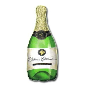 "Champagne Bottle Mylar Balloon SuperShape (14"" x 36"")"