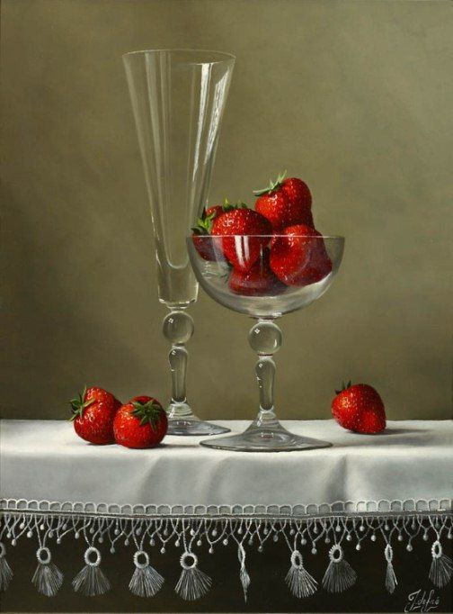 Johan de Fre (b.1952 ) — Strawberries on a White Cloth (504x682)