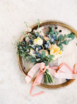 Blue, yellow and coral bridal bouquet