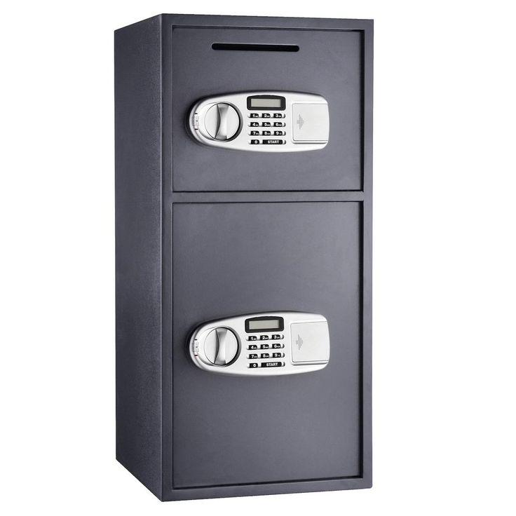 Lock and Safe Double Door Digital Depository Safe 3.16 CF Cash Drop Safe Security, Gray