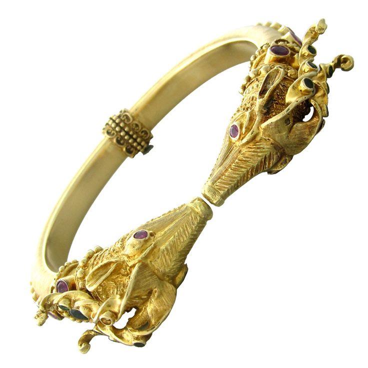 1stdibs | Ilias Lalaounis Gold Ruby Emerald Antelope Bangle Bracelet