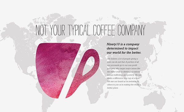 "Ninety10 Coffee Co. is a concept for a coffee company that wants to make a positive impact in the world.""Ninety10 is a company determined to impact our world for the better. We believe a lot of people giving a little can do just that. A portion of all …"