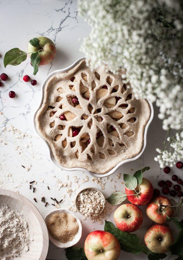 Spiced Cranberry Apple Pie + Oat Crust & Orange Custard Sauce - The Kitchen McCabe