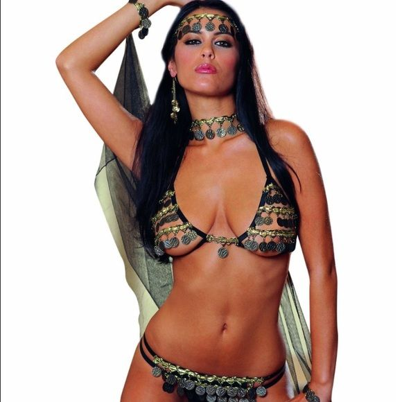 Dream girl Women's Gypsy Dancer Open cup bra top with coin trim and matching g-string. Includes matching head band and neck band with attached cape and wrist bands. (4 piece set) Other