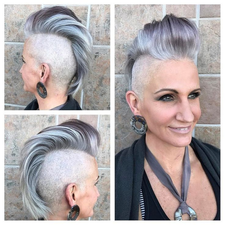All sizes | Silver and Grey Faux Hawk Pixie Cut with Pompadour and Shaved Sides | Flickr - Photo Sharing!