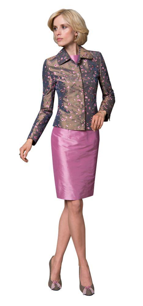 dolzer maßkonfektionäre damen mode etuikleid rosa seide