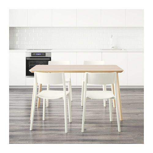 JANINGE/LISABO Table and 4 chairs Ash veneer/white 140x78 cm - IKEA