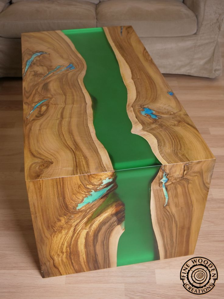 Live Edge Waterfall Green River Coffee Table With
