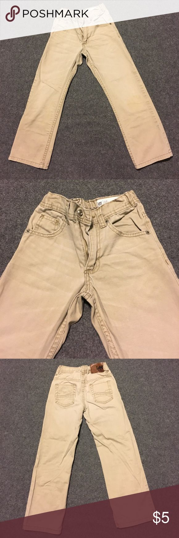 Boys Pants No holes or tears. Small stains around knees. You can see in pics. 100% cotton. Size 7 reg. Slim Straight Leg. Lee Dungarees Bottoms