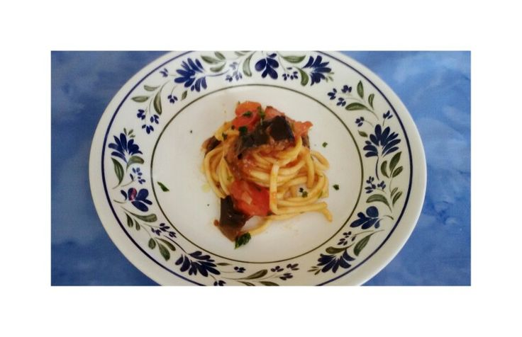 A Sicilian recipe: ¤pasta ¤tomatoes ¤parsley  ¤eggplant