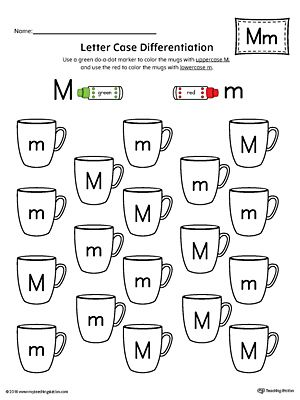 Letter Case Recognition Worksheet: Letter M Worksheet.This fun and coloring activity helps preschoolers and kindergarteners recognize the difference between the uppercase and lowercase letter M.