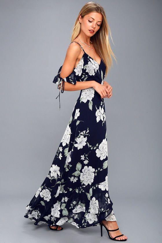 7ef3602fdd075 Field Day Navy Blue Print Maxi Dress in 2019 | Grad party dresses ...