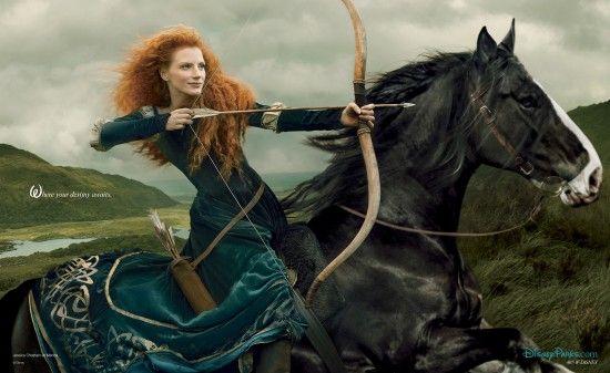 POTD: Jessica Chastain Takes Aim as Merida From 'Brave'