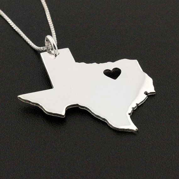 State necklace Texas necklace sterling silver by Silversmith925, $34.00