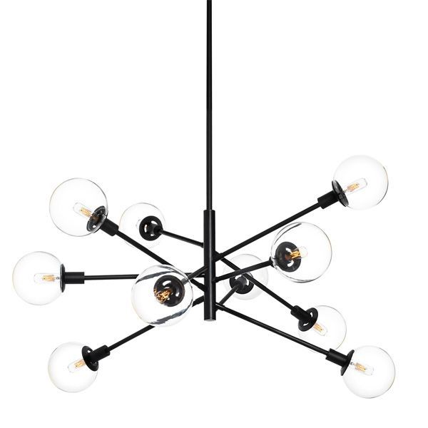 Black Modern Chandelier In 2020 Ceiling Pendant Lights Ceiling Lights Orb Chandelier