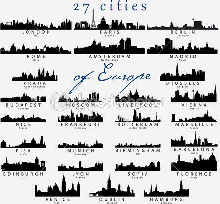 siluetas detalladas de ciudades europeas — Ilustración de stock #27019347
