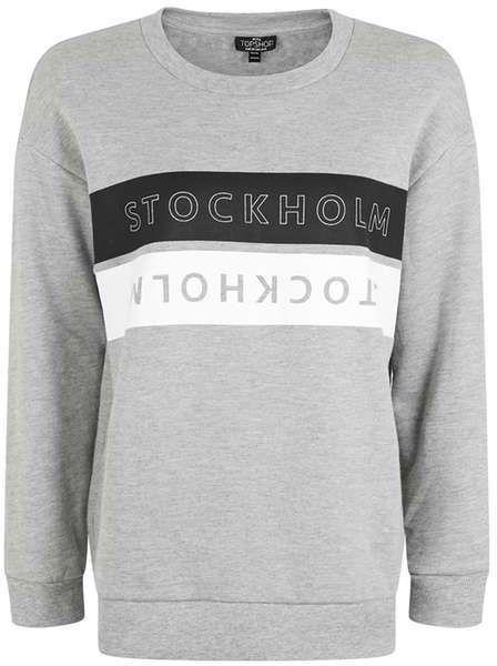 Petite  stockholm motif sweatshirt