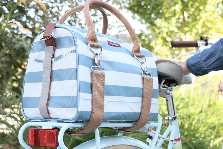 Logan Trunk Bag in Sky Stripes. We love Po Campo! Thanks for this AMAZING shot #Public #PublicBikes