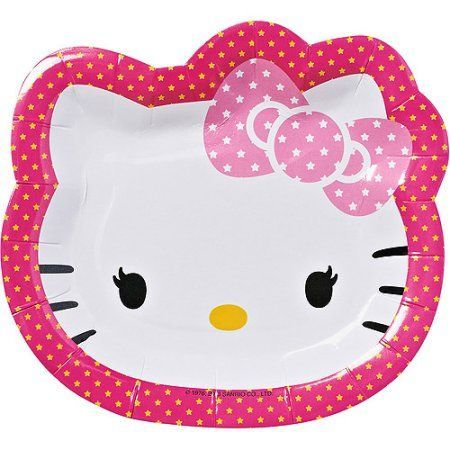 """Hello Kitty 7"""" Die Cut Plates, 8 Count, Party Supplies"""