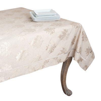 Drawnwork Damask Tablecloth