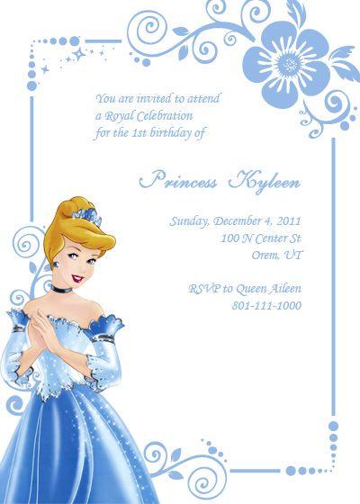 Disney's Cinderella Birthday Invitation http://printableinvitationkits.com/disney-cinderella-birthday-invitation/