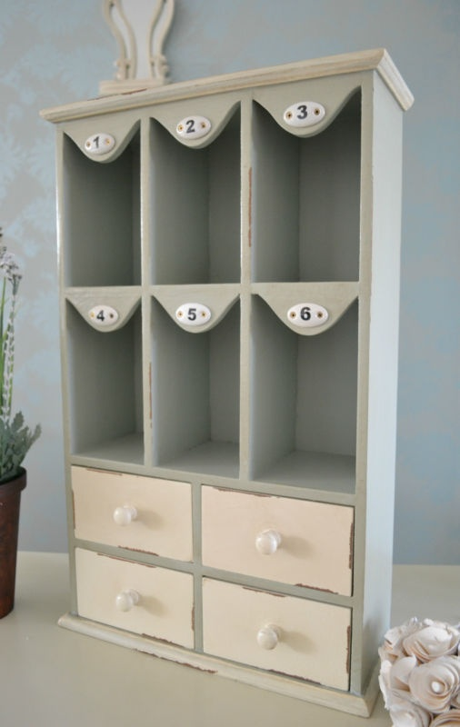 Painted Wood Mini Storage With Numbered Compartments For