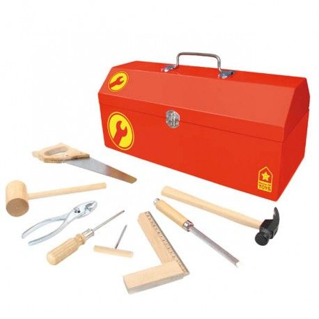 Caisse à outils en bois, contenant un kit très complet de 38 outils fonctionnels. Tout le nécessaire pour commencer le bricolage comme un vrai pro. Conçu pour les enfants à partir de 8 ans, à utiliser sous la surveillance d'un adulte.