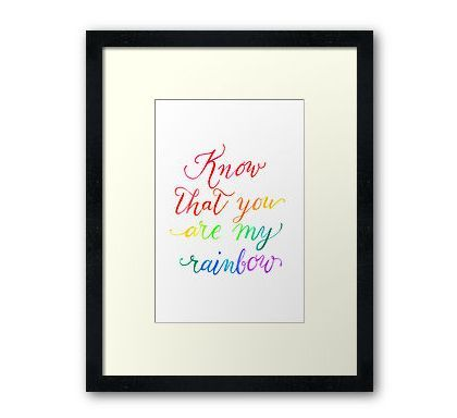 Print of a hand written watercolour quote by Nina Johnson - Blackboard Artworx. Available on cards and wall art at http://www.redbubble.com/people/bbartworx/shop #quotes #poem #poetry #calligraphy #wallart #rainbow