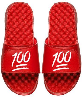 ISlide Keep It 100% Emoji Slide Sandal, Red