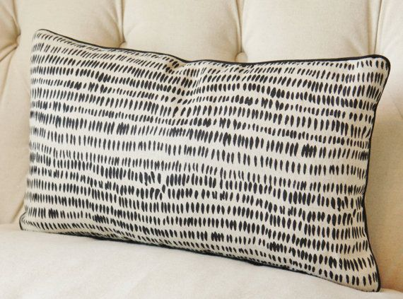 Dashes in Black and Natural Pillow Cover - Bohemian Pillow - Black Block Print Modern Pillow Cover - Black Home Decor