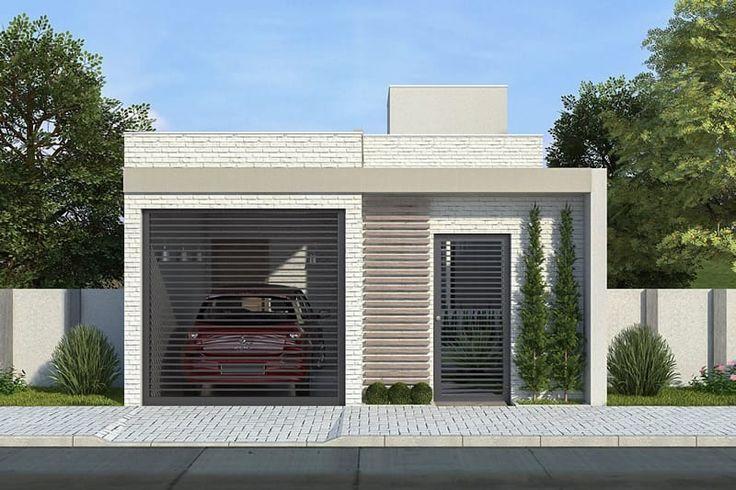 Essa é mais uma planta de casa com ótimo custo benefício. A fachada é moderna, valorizando a residência para quem olha de fora. Por dentro a cozinha, sala de jantar e sala de tv são integradas para dar maior amplitude aos ambientes. Na parte íntima da casa, temos o banheiro e os 2 quartos.