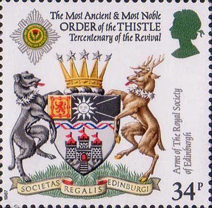 Scottish Heraldry 34p Stamp (1987) Arms of Royal Society of Edinburgh