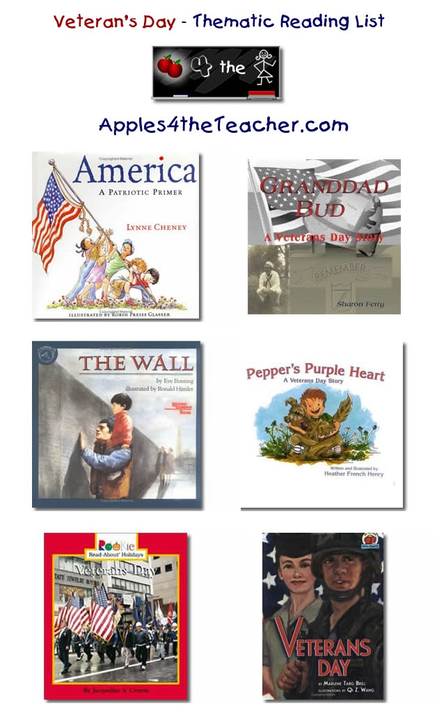 Suggested thematic reading list for Veterans Day - Veteran's Day books for kids.  http://www.apples4theteacher.com/holidays/veterans-day/kids-books/