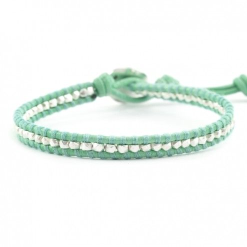 Chan Luu Mint Leather Wrap Bracelet