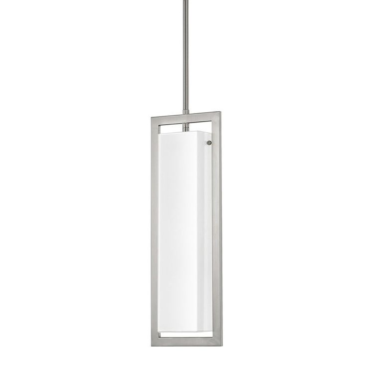 This tahoe collection 2 light pendant features a brushed nickel finish with a milk glass