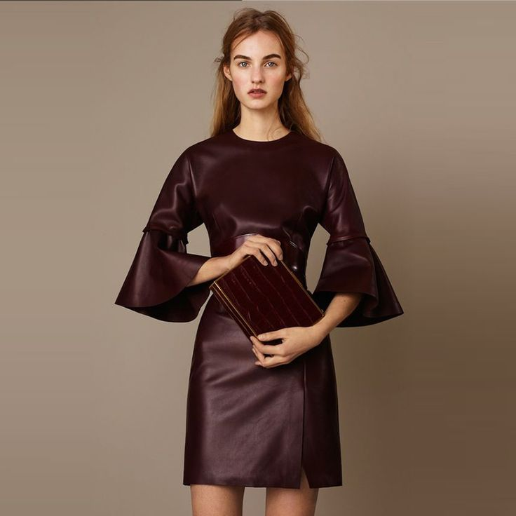 Woman Dress Solid New Arrivals Three Quarter Flare Sleeve Mini Dress XXS-7XL Plus Size Autumn Spring Bodycon PU Leather Dress