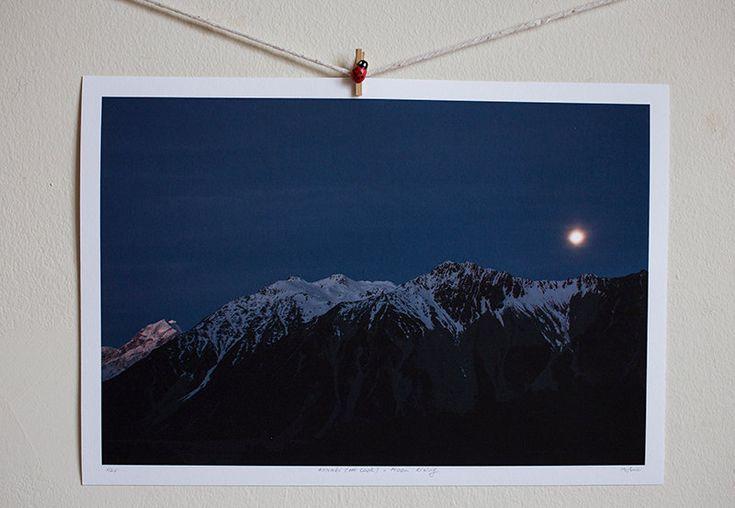 Aoraki (Mt. Cook) - Moon Rising by Pusha on Etsy