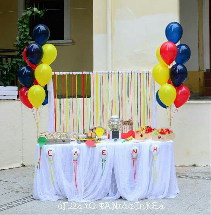 Baptism decoration with balloons