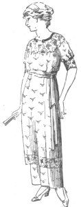 "1914 Afternoon Dress Pattern Instructions. This dress pattern was inspired by a design found in a 1914 home economics textbook, Shelter and Clothing. You can see the original line artwork for the dress at right. The caption reads, ""Suggestion for a simple lingerie dress,"" and the accompanying instructions give the steps to create a ""shirtwaist dress."" Essentially, what you get is a shirtwaist (blouse) joined to a simple skirt. I've taken the basic design and given you three different sleeve…"