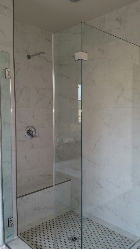 Master Shower With Calacatta Porcelain 12 X 24 Tile And