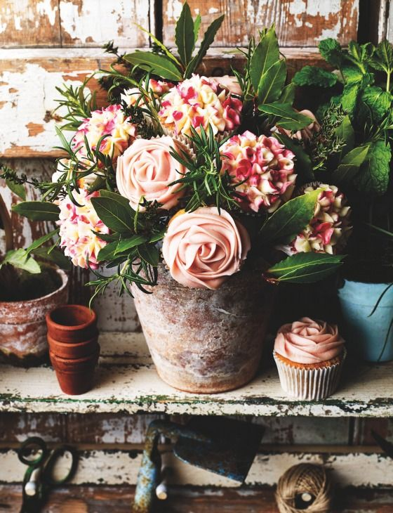 A delicious pistachio and rose cupcake recipe transformed into a beautiful bouquet of flowers