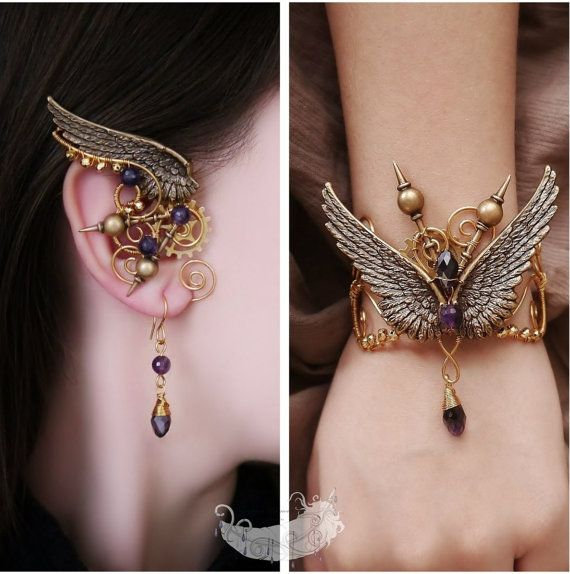 Angel of the Past  steampunk jewelry gold by EvgeniaEJewellery, $77.00