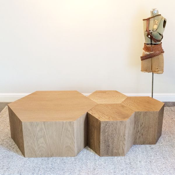 Hexagon Wood Modern Geometric Table  Natural In Large And Small. Use As A  Modular