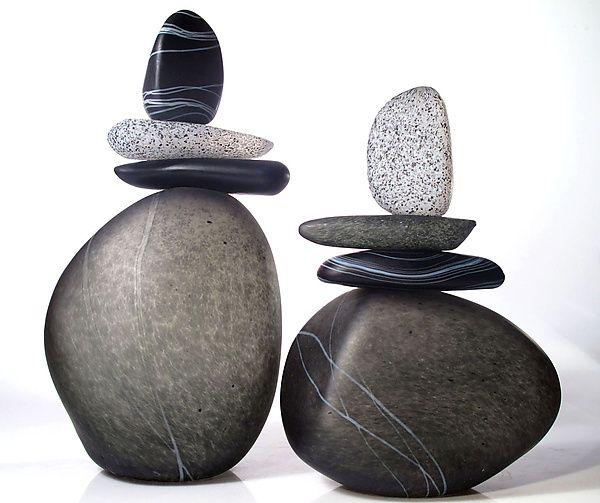 2nd Floor / Sitting Near Sink In The Clarissa Powder Room / Cairn Rock Totems in Gray: Melanie Guernsey-Leppla: Art Glass Sculpture | Artful Home