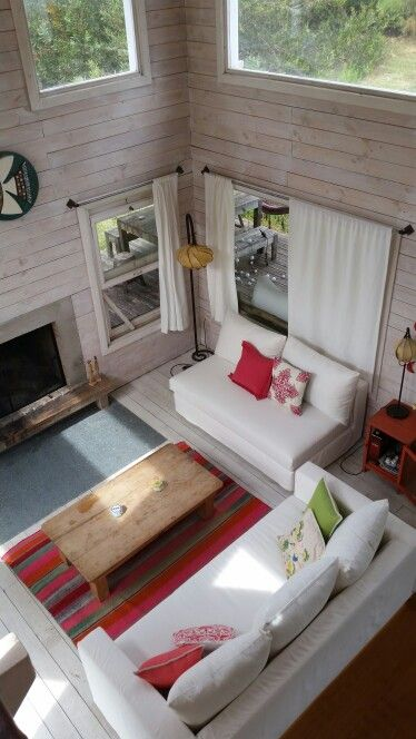 Living cabaña de madera, Oceanía del Polonio. Rocha, Uruguay