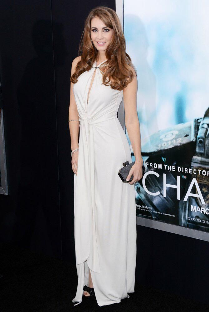 Tanit Phoenix in Halston Heritage at the Premiere of Chappie